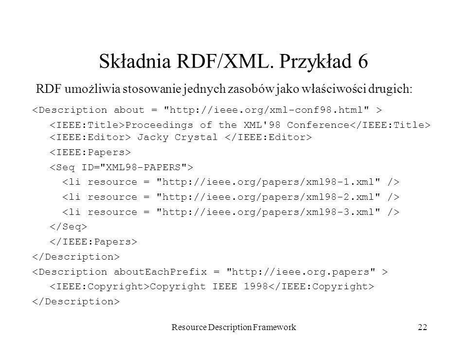 Resource Description Framework22 Składnia RDF/XML. Przykład 6 Proceedings of the XML'98 Conference Jacky Crystal Copyright IEEE 1998 RDF umożliwia sto