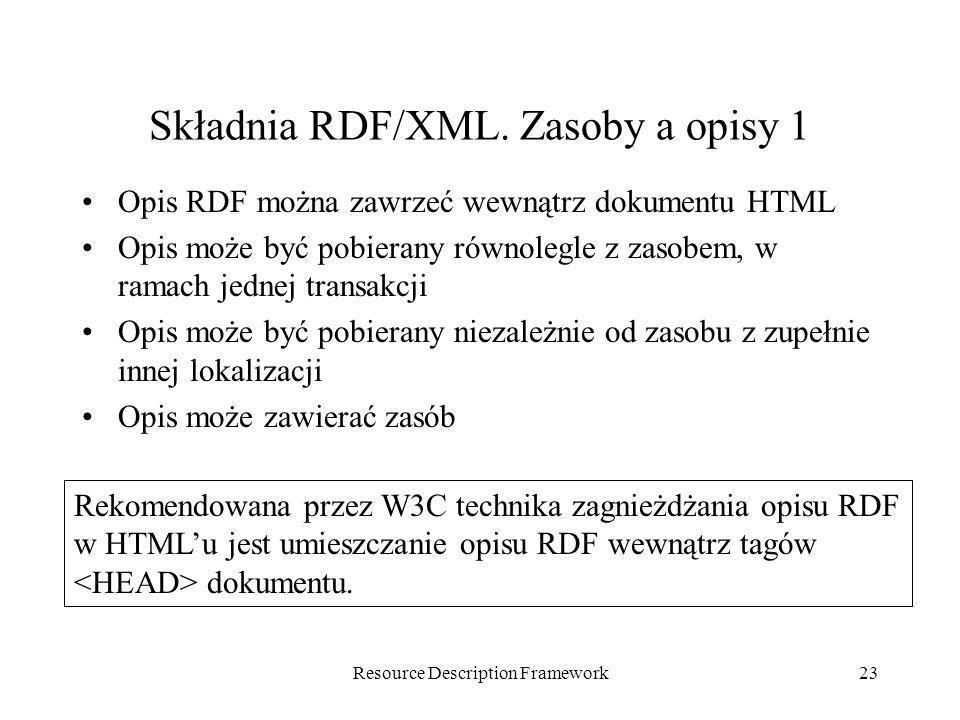 Resource Description Framework23 Składnia RDF/XML. Zasoby a opisy 1 Opis RDF można zawrzeć wewnątrz dokumentu HTML Opis może być pobierany równolegle