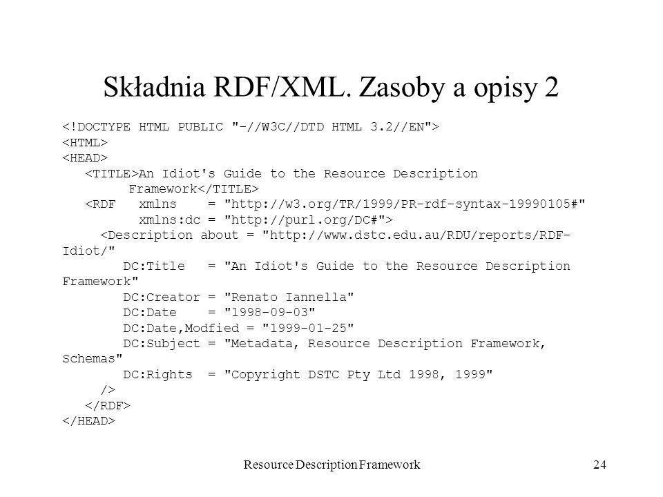 Resource Description Framework24 Składnia RDF/XML. Zasoby a opisy 2 An Idiot's Guide to the Resource Description Framework <RDF xmlns =