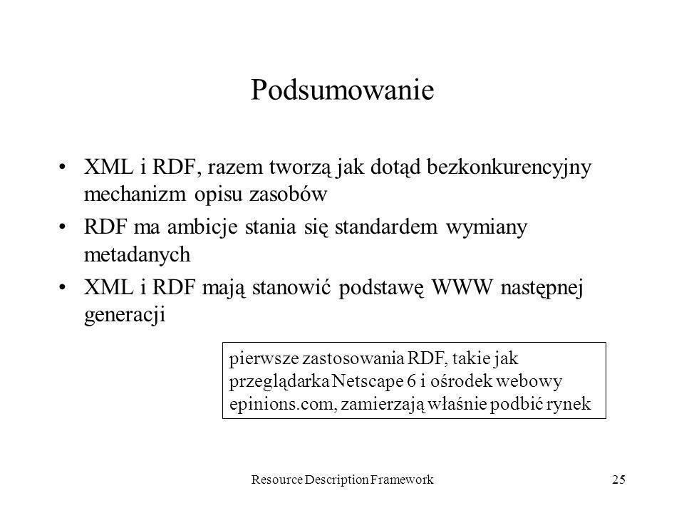 Resource Description Framework25 Podsumowanie XML i RDF, razem tworzą jak dotąd bezkonkurencyjny mechanizm opisu zasobów RDF ma ambicje stania się sta