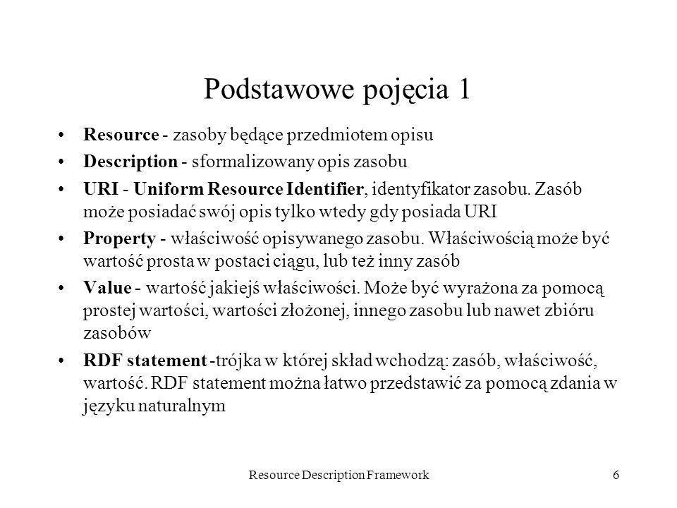 Resource Description Framework6 Podstawowe pojęcia 1 Resource - zasoby będące przedmiotem opisu Description - sformalizowany opis zasobu URI - Uniform