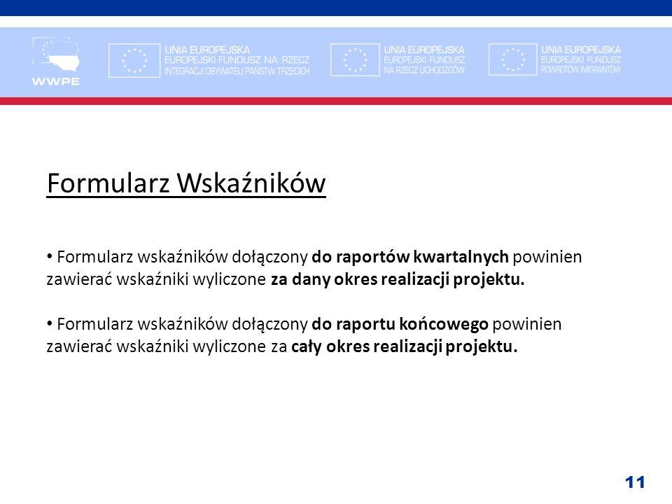 11 Formularz Wskaźników Formularz wskaźników dołączony do raportów kwartalnych powinien zawierać wskaźniki wyliczone za dany okres realizacji projektu