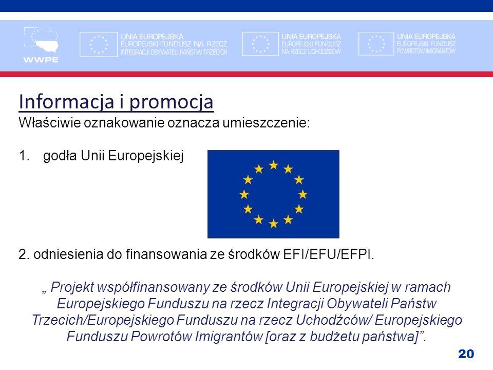 20 Informacja i promocja Właściwie oznakowanie oznacza umieszczenie: 1.godła Unii Europejskiej 2. odniesienia do finansowania ze środków EFI/EFU/EFPI.