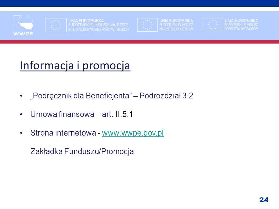24 Informacja i promocja Podręcznik dla Beneficjenta – Podrozdział 3.2 Umowa finansowa – art. II.5.1 Strona internetowa - www.wwpe.gov.plwww.wwpe.gov.