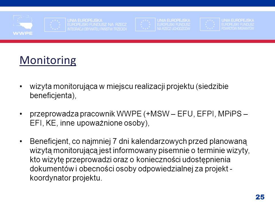 25 Monitoring wizyta monitorująca w miejscu realizacji projektu (siedzibie beneficjenta), przeprowadza pracownik WWPE (+MSW – EFU, EFPI, MPiPS – EFI,