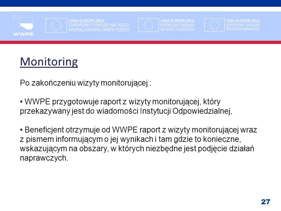 27 Monitoring Po zakończeniu wizyty monitorującej : WWPE przygotowuje raport z wizyty monitorującej, który przekazywany jest do wiadomości Instytucji
