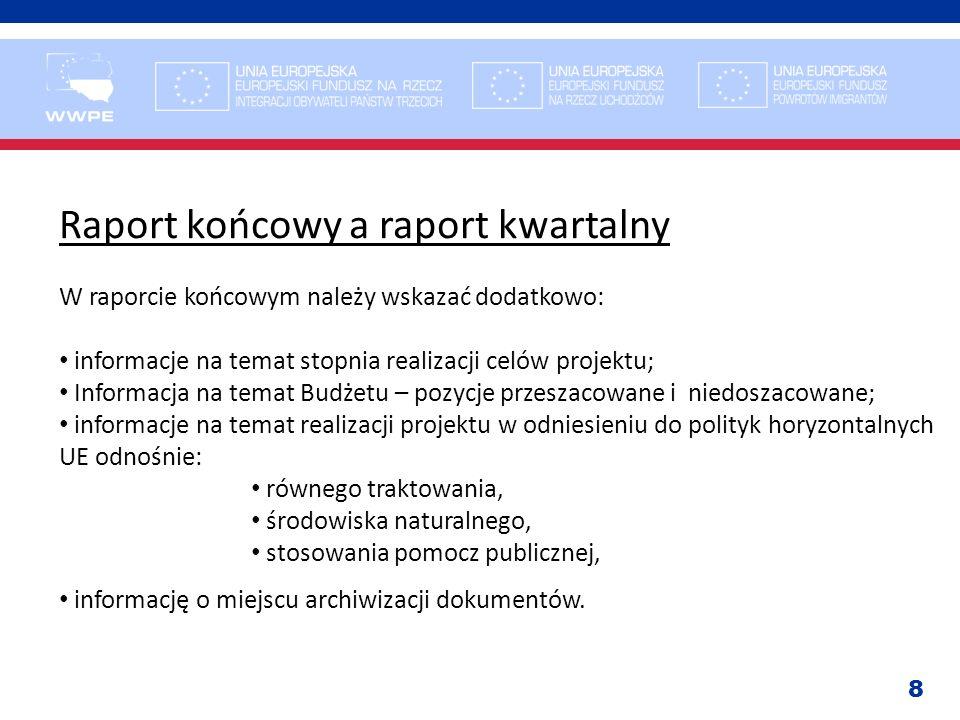 8 Raport końcowy a raport kwartalny W raporcie końcowym należy wskazać dodatkowo: informacje na temat stopnia realizacji celów projektu; Informacja na