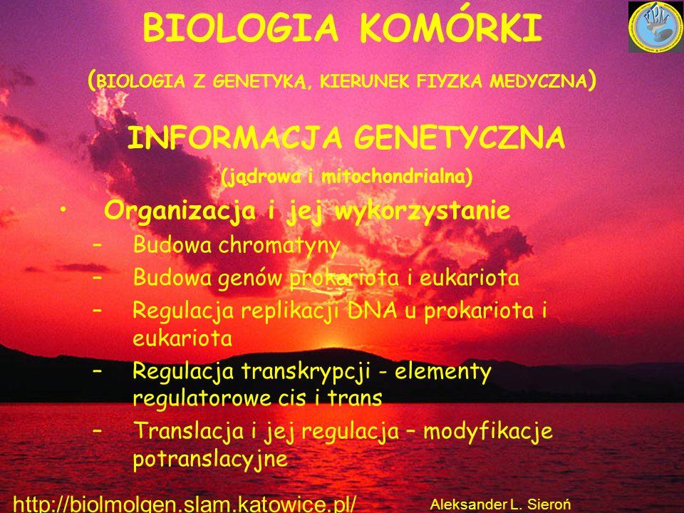 BIOLOGIA KOMÓRKI ( BIOLOGIA Z GENETYKĄ, KIERUNEK FIYZKA MEDYCZNA ) INFORMACJA GENETYCZNA (jądrowa i mitochondrialna) Organizacja i jej wykorzystanie –