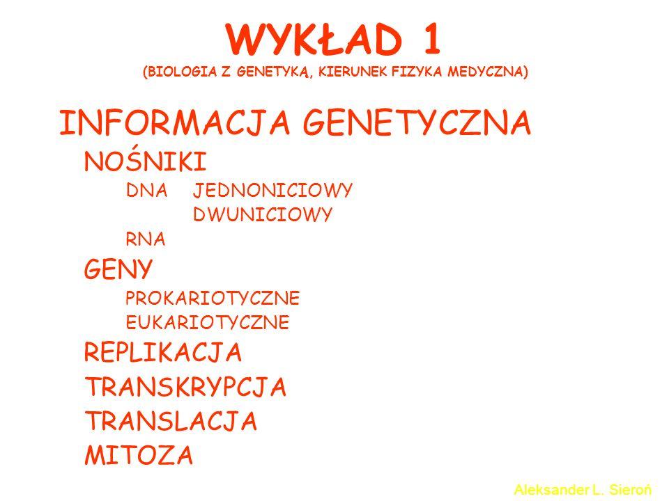 WYKŁAD 1 (BIOLOGIA Z GENETYKĄ, KIERUNEK FIZYKA MEDYCZNA) INFORMACJA GENETYCZNA NOŚNIKI DNAJEDNONICIOWY DWUNICIOWY RNA GENY PROKARIOTYCZNE EUKARIOTYCZN
