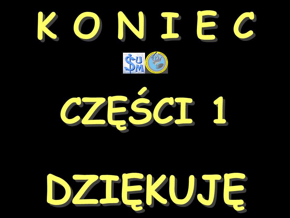 K O N I E C CZĘŚCI 1 K O N I E C CZĘŚCI 1 DZIĘKUJĘ DZIĘKUJĘ