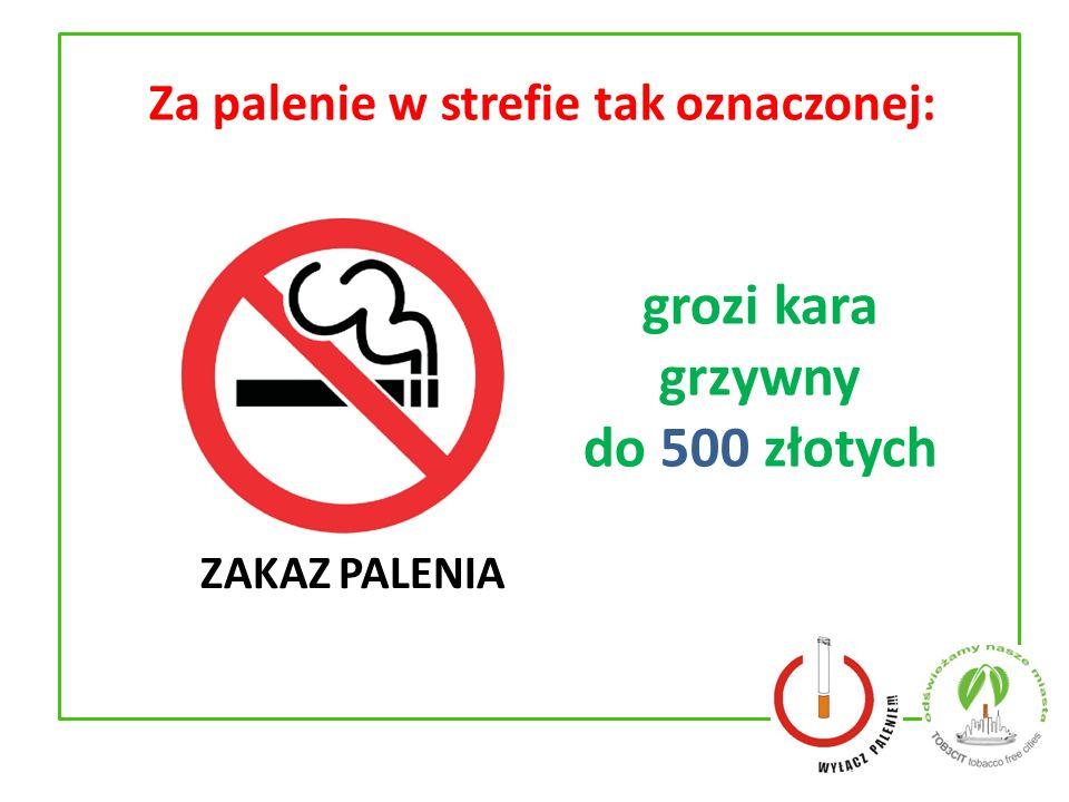 Za palenie w strefie tak oznaczonej: grozi kara grzywny do 500 złotych ZAKAZ PALENIA
