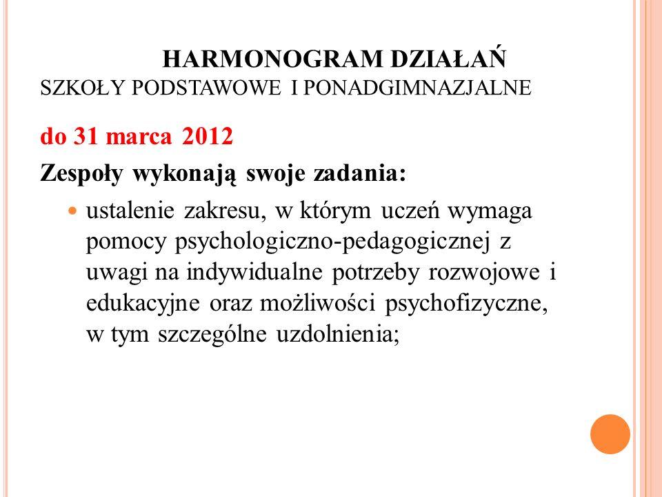 HARMONOGRAM DZIAŁAŃ SZKOŁY PODSTAWOWE I PONADGIMNAZJALNE do 31 marca 2012 Zespoły wykonają swoje zadania: ustalenie zakresu, w którym uczeń wymaga pom