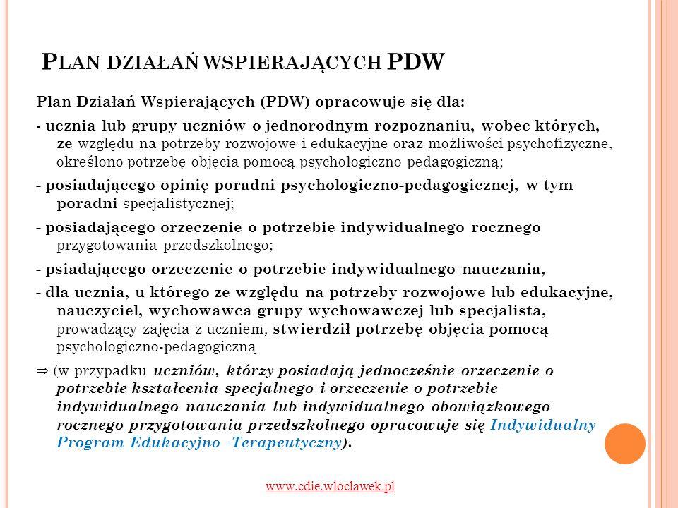P LAN DZIAŁAŃ WSPIERAJĄCYCH PDW Plan Działań Wspierających (PDW) opracowuje się dla: - ucznia lub grupy uczniów o jednorodnym rozpoznaniu, wobec który