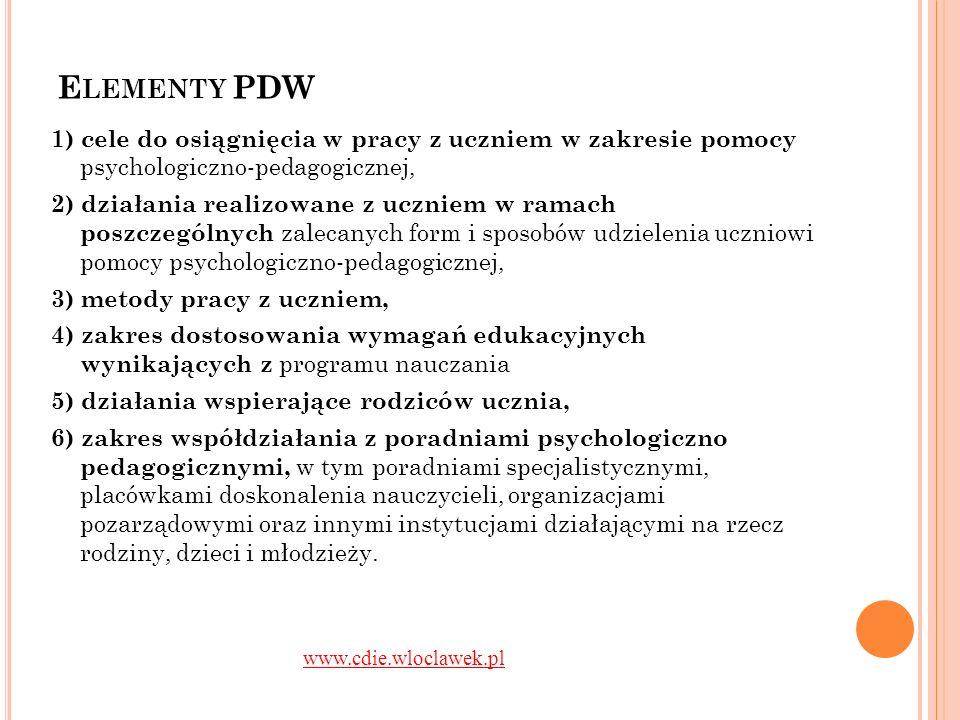 E LEMENTY PDW 1) cele do osiągnięcia w pracy z uczniem w zakresie pomocy psychologiczno-pedagogicznej, 2) działania realizowane z uczniem w ramach pos
