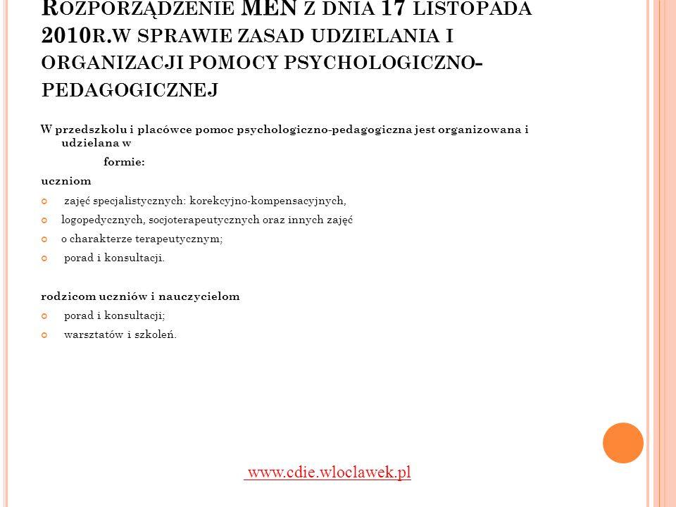 R OZPORZĄDZENIE MEN Z DNIA 17 LISTOPADA 2010 R. W SPRAWIE ZASAD UDZIELANIA I ORGANIZACJI POMOCY PSYCHOLOGICZNO - PEDAGOGICZNEJ W przedszkolu i placówc