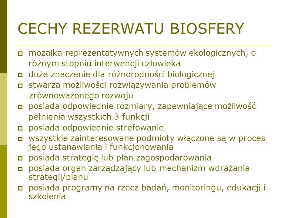 CECHY REZERWATU BIOSFERY mozaika reprezentatywnych systemów ekologicznych, o różnym stopniu interwencji człowieka duże znaczenie dla różnorodności bio