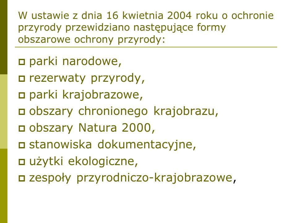 W ustawie z dnia 16 kwietnia 2004 roku o ochronie przyrody przewidziano następujące formy obszarowe ochrony przyrody: parki narodowe, rezerwaty przyro