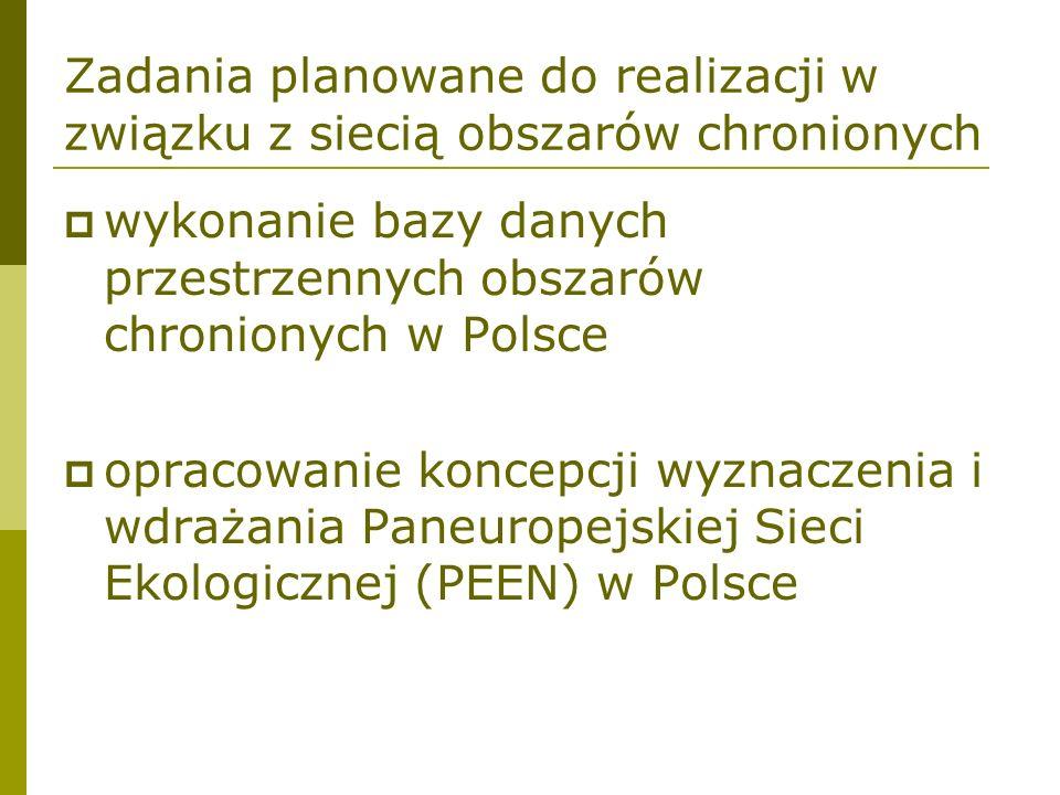 Zadania planowane do realizacji w związku z siecią obszarów chronionych wykonanie bazy danych przestrzennych obszarów chronionych w Polsce opracowanie