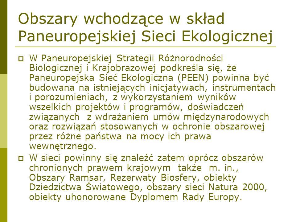 Obszary wchodzące w skład Paneuropejskiej Sieci Ekologicznej W Paneuropejskiej Strategii Różnorodności Biologicznej i Krajobrazowej podkreśla się, że