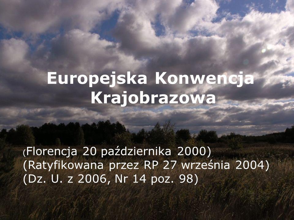 Europejska Konwencja Krajobrazowa ( Florencja 20 października 2000) (Ratyfikowana przez RP 27 września 2004) (Dz. U. z 2006, Nr 14 poz. 98)