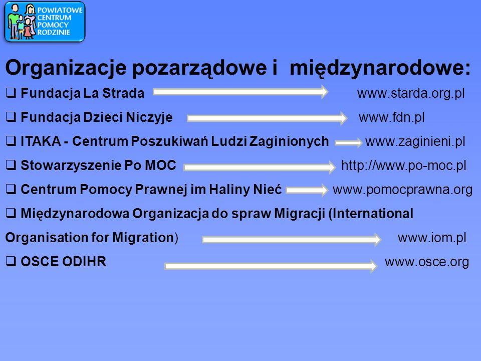 Organizacje pozarządowe i międzynarodowe: Fundacja La Strada www.starda.org.pl Fundacja Dzieci Niczyje www.fdn.pl ITAKA - Centrum Poszukiwań Ludzi Zag