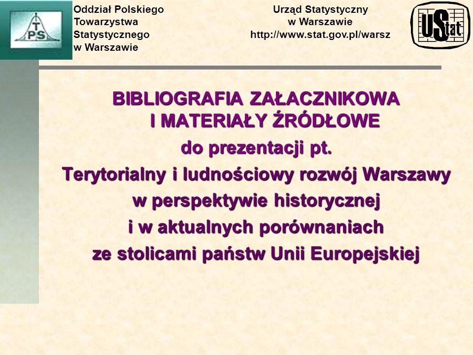 BIBLIOGRAFIA ZAŁACZNIKOWA I MATERIAŁY ŹRÓDŁOWE do prezentacji pt. Terytorialny i ludnościowy rozwój Warszawy w perspektywie historycznej i w aktualnyc