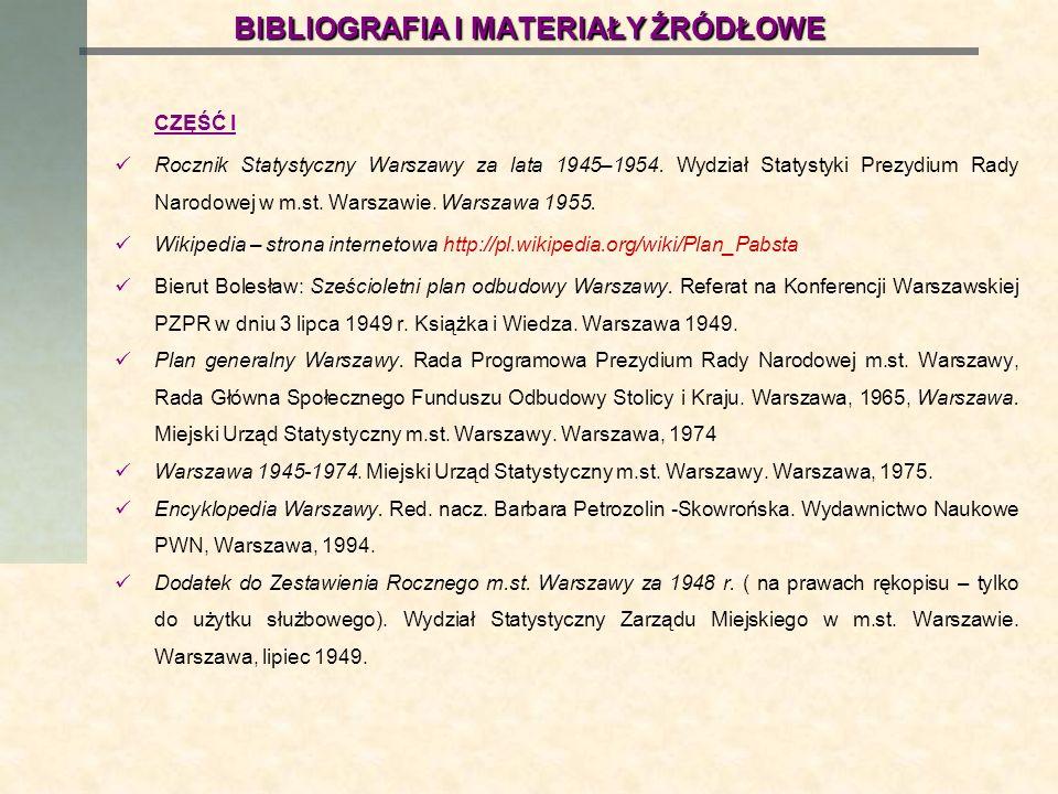 BIBLIOGRAFIA I MATERIAŁY ŹRÓDŁOWE CZĘŚĆ I Rocznik Statystyczny Warszawy za lata 1945–1954. Wydział Statystyki Prezydium Rady Narodowej w m.st. Warszaw