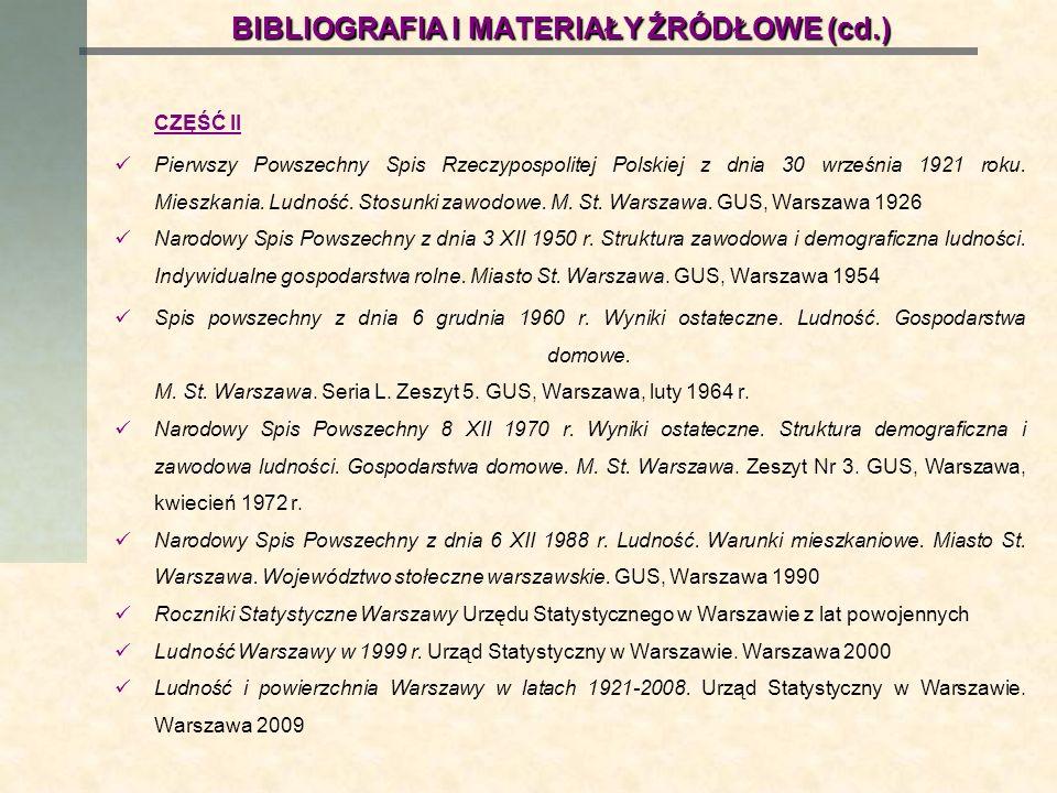 BIBLIOGRAFIA I MATERIAŁY ŹRÓDŁOWE (cd.) CZĘŚĆ II Pierwszy Powszechny Spis Rzeczypospolitej Polskiej z dnia 30 września 1921 roku. Mieszkania. Ludność.