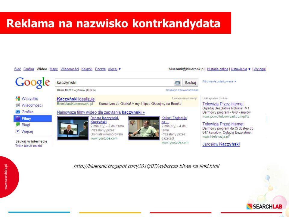 Reklama na nazwisko kontrkandydata http://bluerank.blogspot.com/2010/07/wyborcza-bitwa-na-linki.html