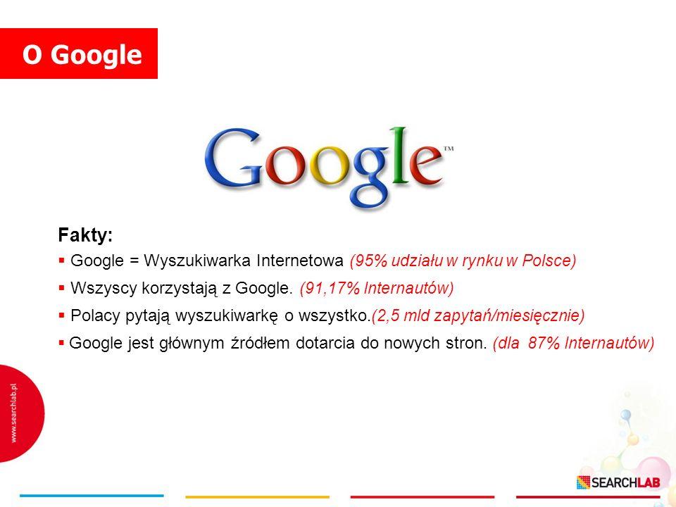O Google Fakty: Google = Wyszukiwarka Internetowa (95% udziału w rynku w Polsce) Wszyscy korzystają z Google. (91,17% Internautów) Polacy pytają wyszu