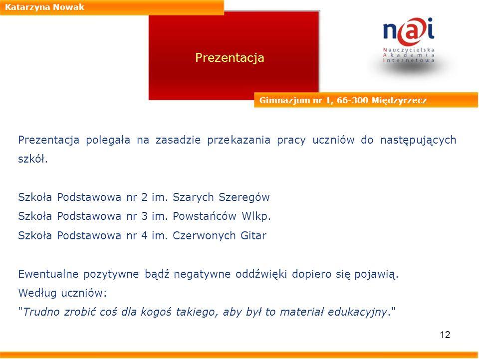 12 Katarzyna Nowak Gimnazjum nr 1, 66-300 Międzyrzecz Prezentacja Prezentacja polegała na zasadzie przekazania pracy uczniów do następujących szkół. S