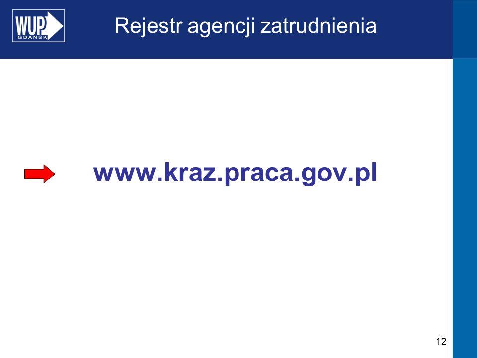 12 Rejestr agencji zatrudnienia www.kraz.praca.gov.pl