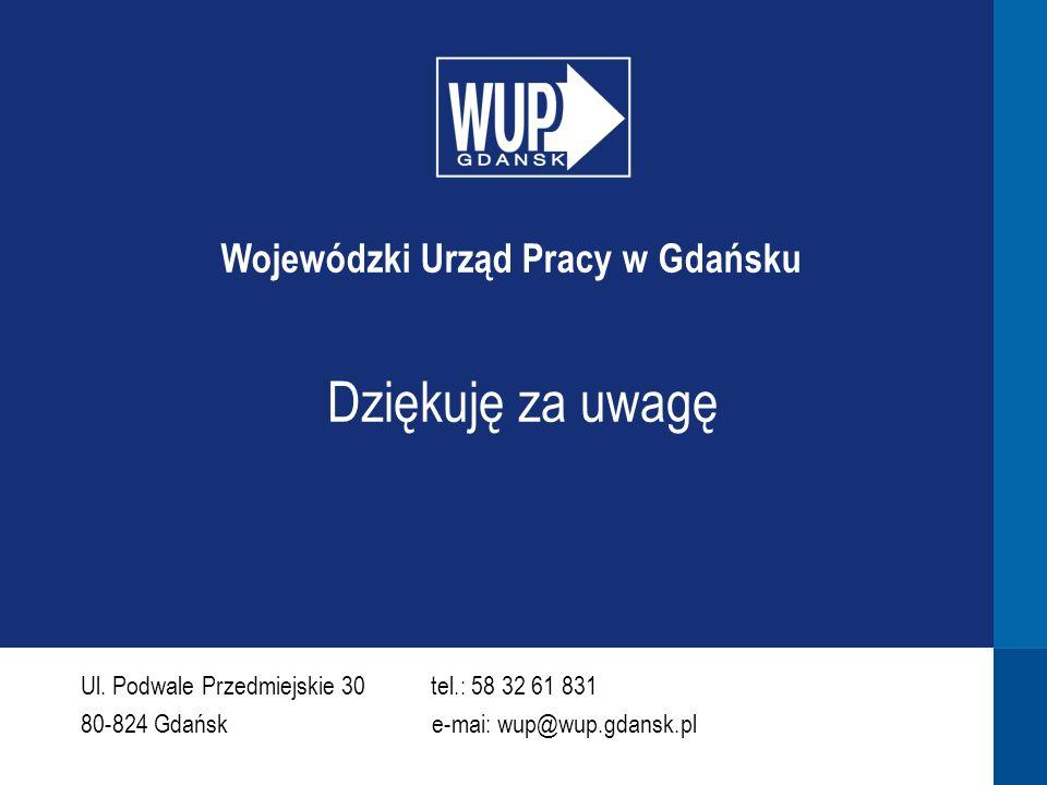Dziękuję za uwagę Ul. Podwale Przedmiejskie 30 tel.: 58 32 61 831 80-824 Gdańsk e-mai: wup@wup.gdansk.pl Wojewódzki Urząd Pracy w Gdańsku