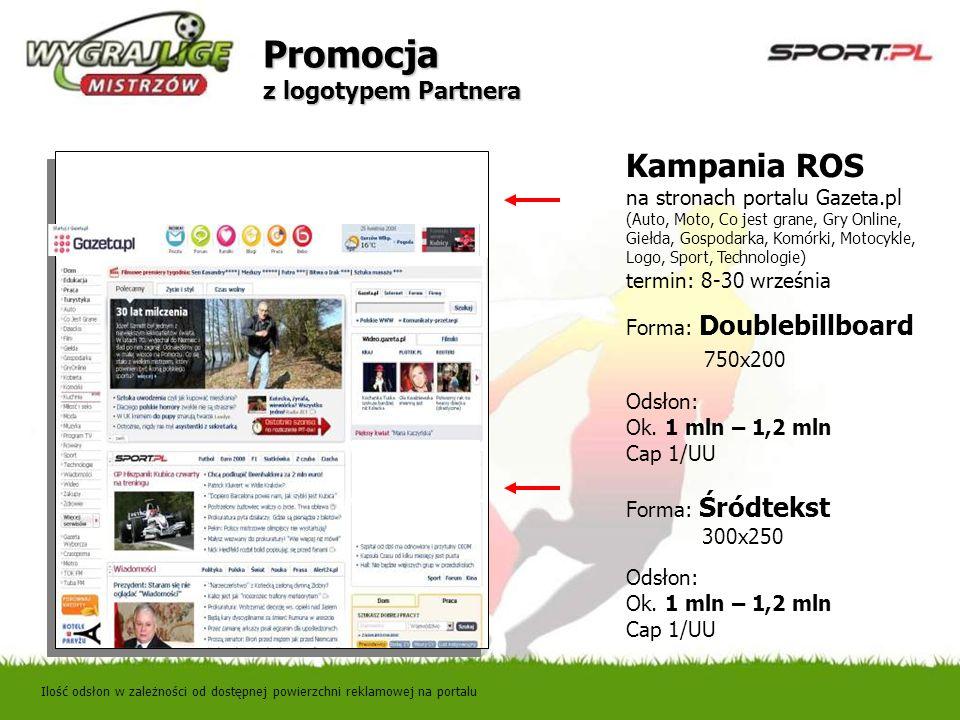 Promocja z logotypem Partnera Ilość odsłon w zależności od dostępnej powierzchni reklamowej na portalu Kampania ROS na stronach portalu Gazeta.pl (Aut