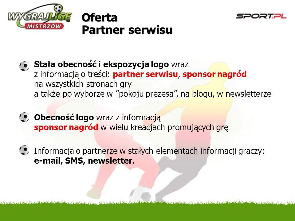 Oferta Partner serwisu Stała obecność i ekspozycja logo wraz z informacją o treści: partner serwisu, sponsor nagród na wszystkich stronach gry a także