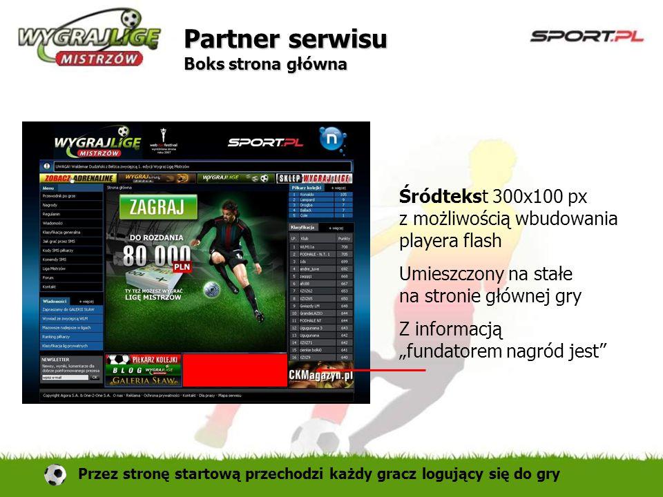 Śródtekst 300x100 px z możliwością wbudowania playera flash Umieszczony na stałe na stronie głównej gry Z informacją fundatorem nagród jest Partner se