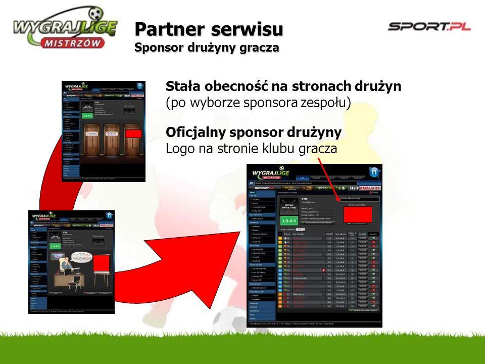 Stała obecność na stronach drużyn (po wyborze sponsora zespołu) Oficjalny sponsor drużyny Logo na stronie klubu gracza Partner serwisu Sponsor drużyny