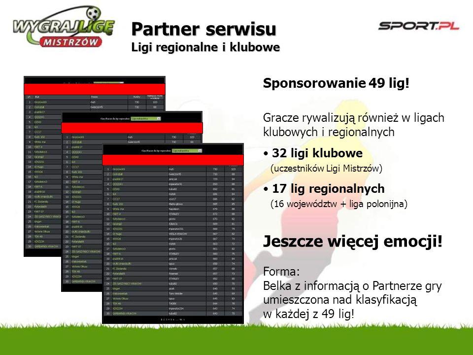 Sponsorowanie 49 lig! Gracze rywalizują również w ligach klubowych i regionalnych 32 ligi klubowe (uczestników Ligi Mistrzów) 17 lig regionalnych (16