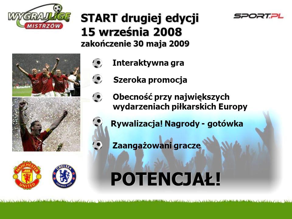 Interaktywna gra Obecność przy największych wydarzeniach piłkarskich Europy POTENCJAŁ! Zaangażowani gracze START drugiej edycji 15 września 2008 zakoń