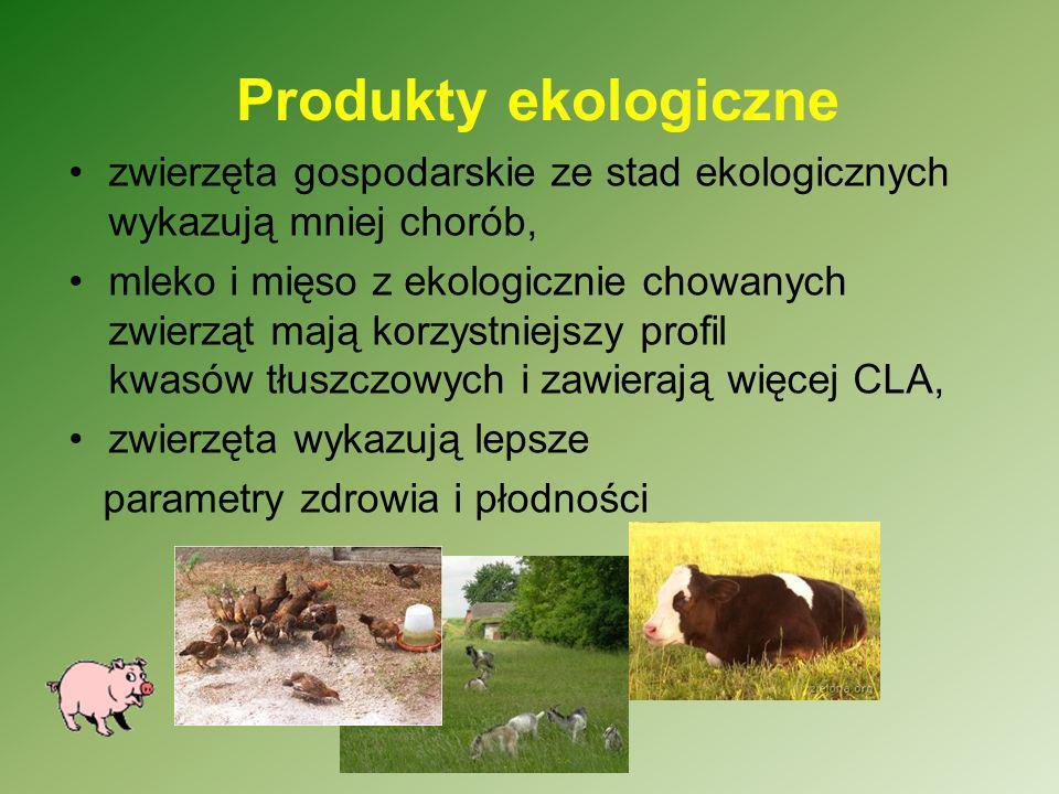 Produkty ekologiczne zwierzęta gospodarskie ze stad ekologicznych wykazują mniej chorób, mleko i mięso z ekologicznie chowanych zwierząt mają korzystn