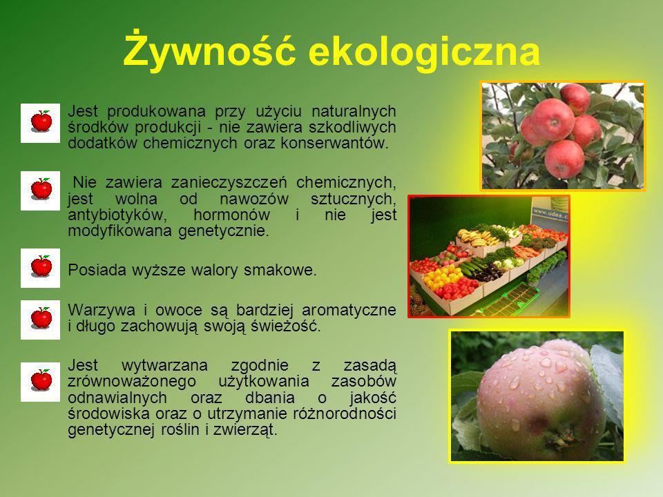 Żywność ekologiczna Jest produkowana przy użyciu naturalnych środków produkcji - nie zawiera szkodliwych dodatków chemicznych oraz konserwantów. Nie z