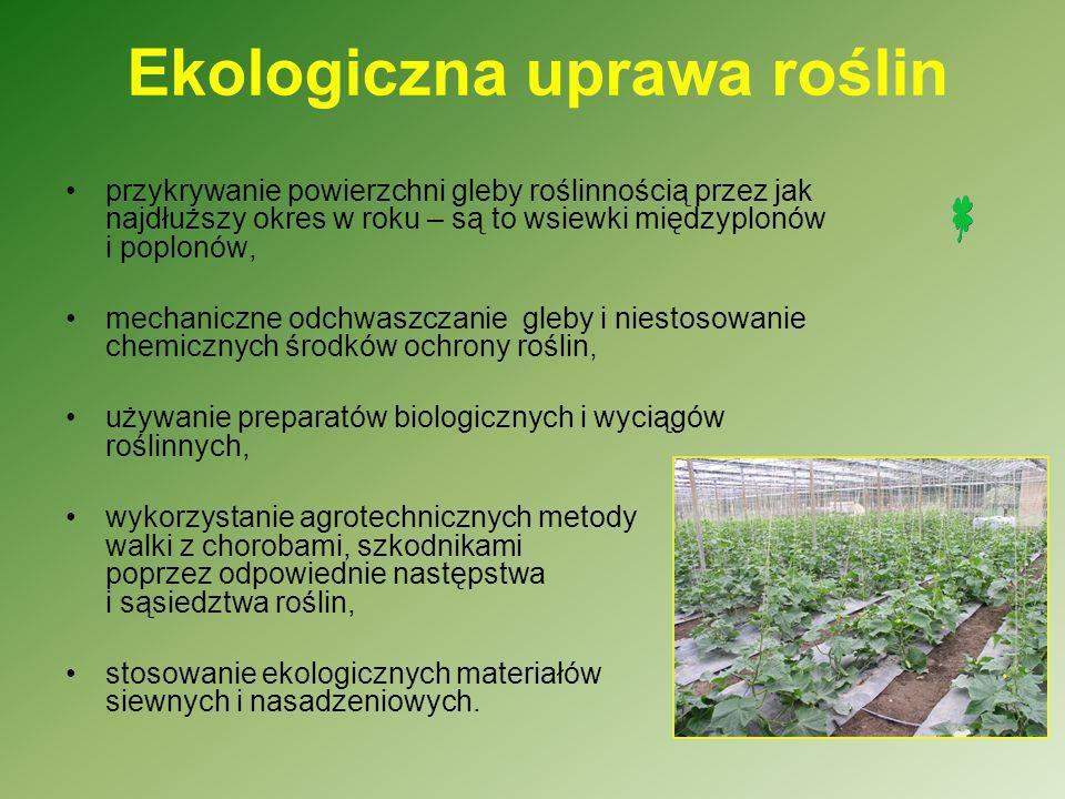 W rolnictwie ekologicznym nie wolno stosować : syntetycznych środków ochrony roślin, nawozów sztucznych, zapraw nasiennych, sztucznych koncentratów, organizmów genetycznie zmodyfikowanych (GMO), pasz przemysłowych, promieni jonizujących.