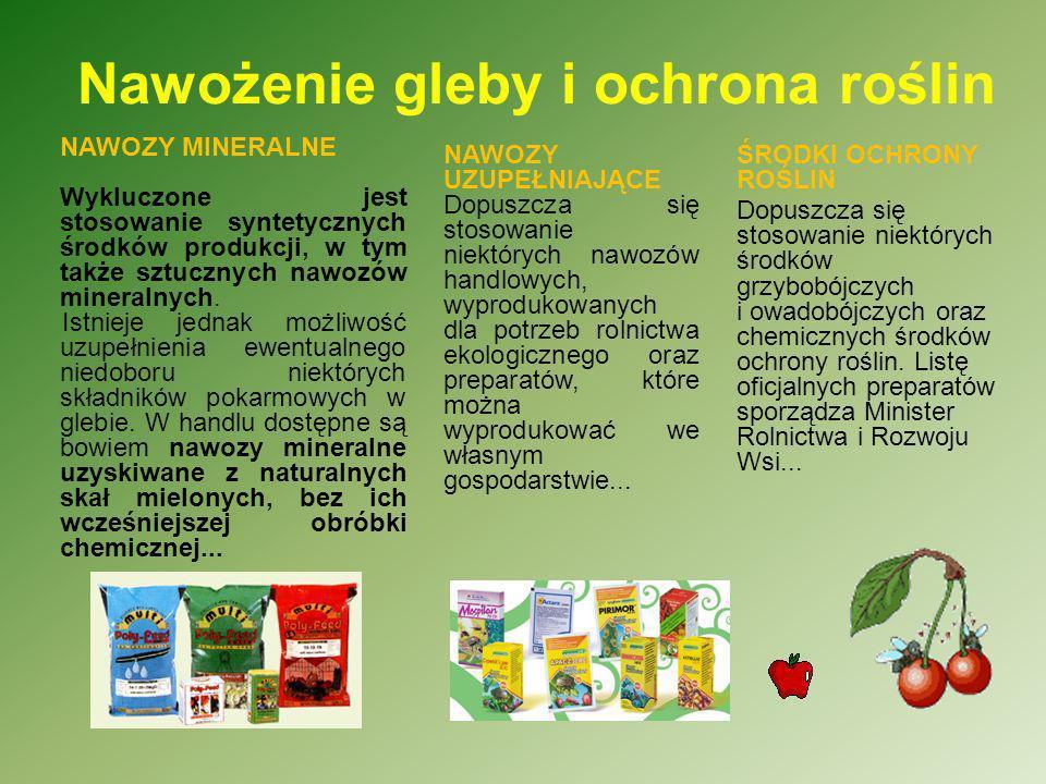 Nawożenie gleby i ochrona roślin ŚRODKI OCHRONY ROŚLIN Dopuszcza się stosowanie niektórych środków grzybobójczych i owadobójczych oraz chemicznych śro