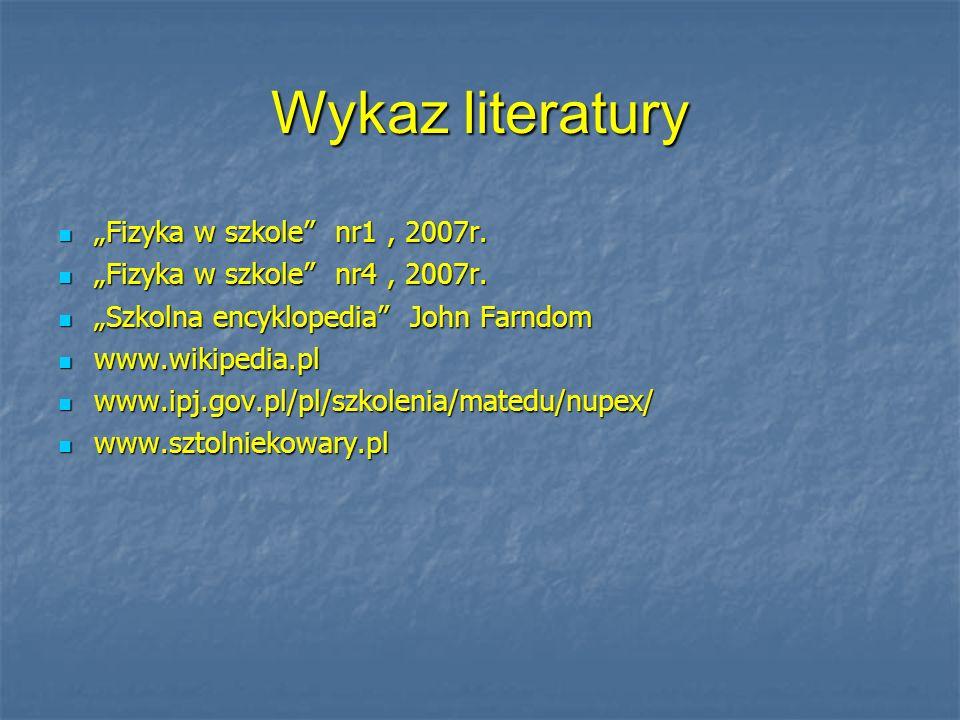 Wykaz literatury Fizyka w szkole nr1, 2007r. Fizyka w szkole nr1, 2007r. Fizyka w szkole nr4, 2007r. Fizyka w szkole nr4, 2007r. Szkolna encyklopedia