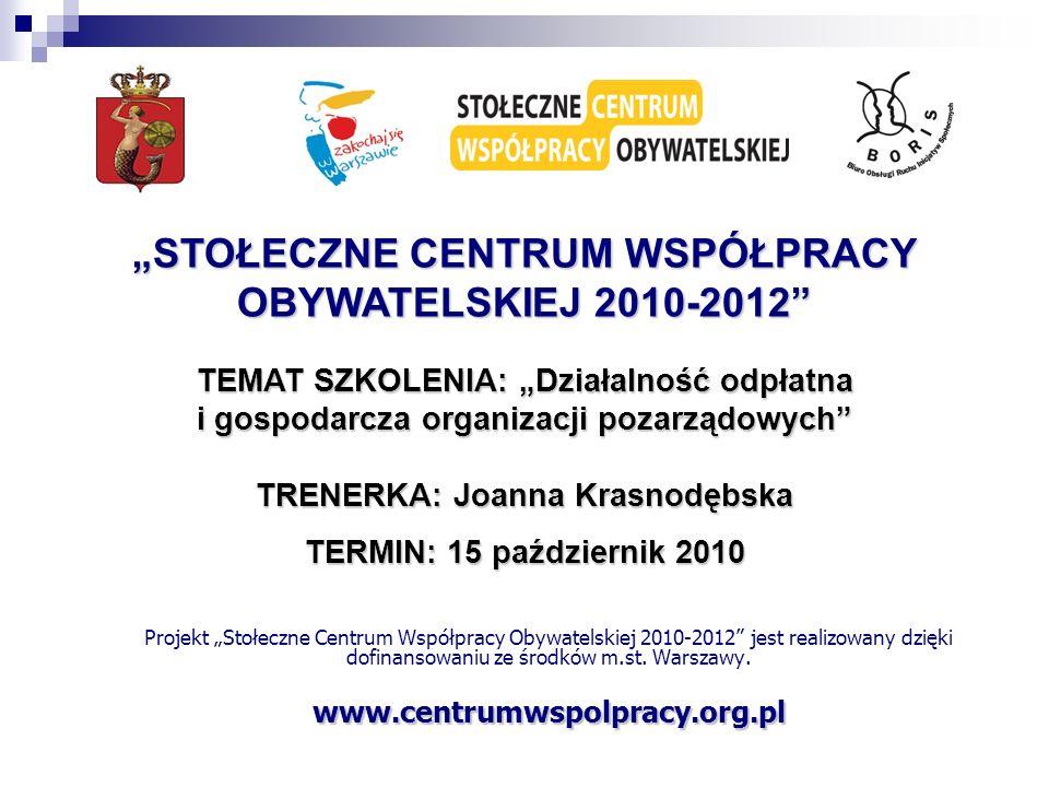 Projekt Stołeczne Centrum Współpracy Obywatelskiej 2010-2012 jest realizowany dzięki dofinansowaniu ze środków m.st. Warszawy.www.centrumwspolpracy.or