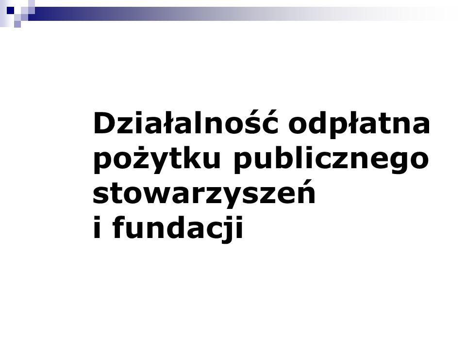 Działalność odpłatna pożytku publicznego stowarzyszeń i fundacji