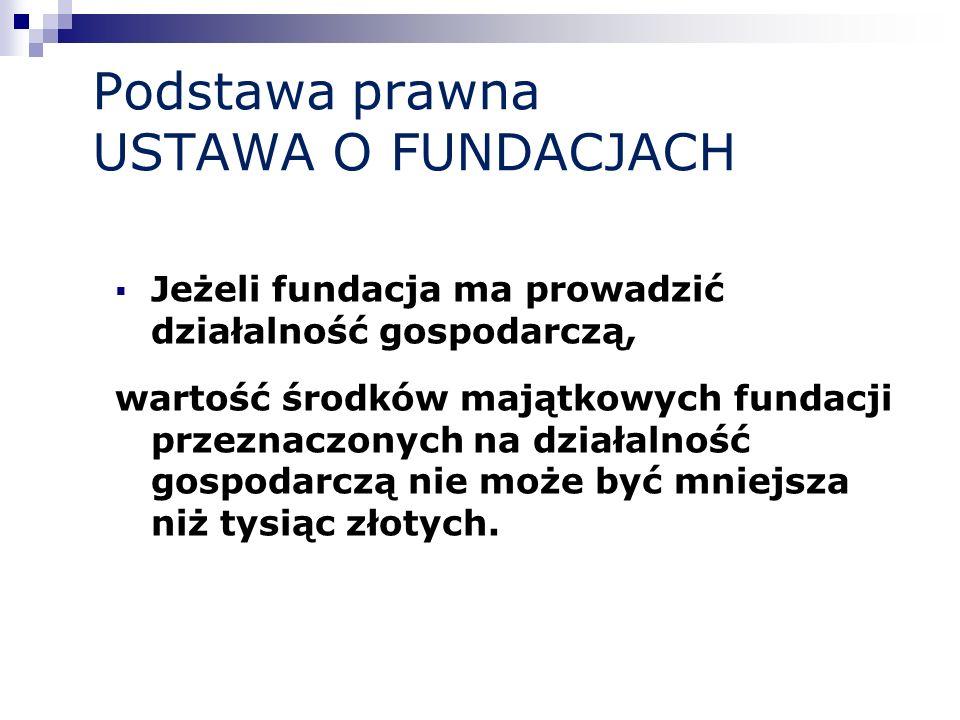 Podstawa prawna USTAWA O FUNDACJACH Jeżeli fundacja ma prowadzić działalność gospodarczą, wartość środków majątkowych fundacji przeznaczonych na dział