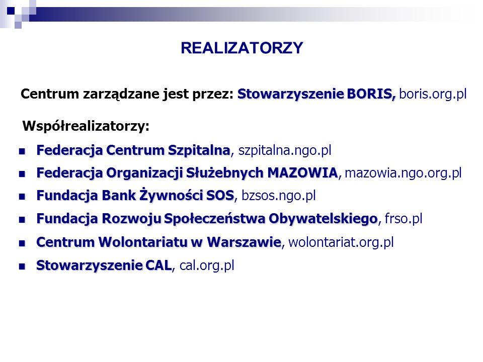 REALIZATORZY Stowarzyszenie BORIS, Centrum zarządzane jest przez: Stowarzyszenie BORIS, boris.org.pl Współrealizatorzy: Federacja Centrum Szpitalna Fe
