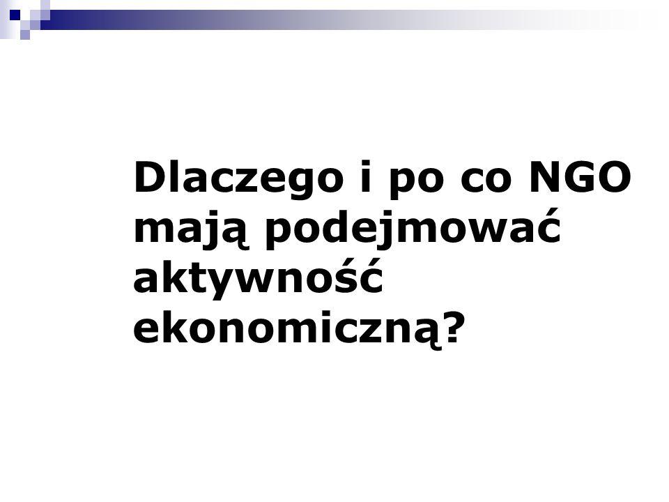 Dlaczego i po co NGO mają podejmować aktywność ekonomiczną?