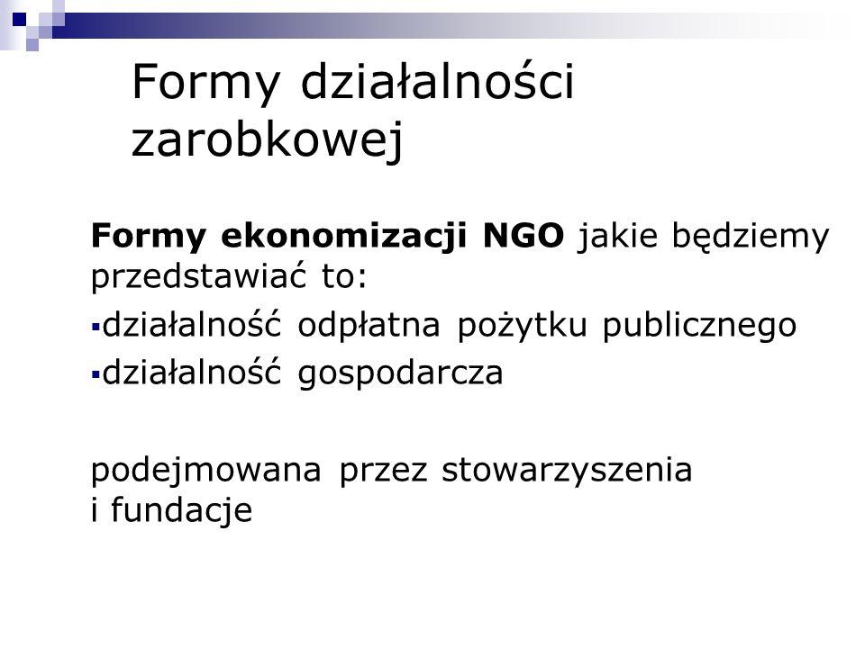 Formy działalności zarobkowej Formy ekonomizacji NGO jakie będziemy przedstawiać to: działalność odpłatna pożytku publicznego działalność gospodarcza